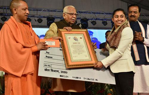 उत्तर प्रदेश सरकार द्वारा दीपा कर्माकर सम्मानित - 27 Jan 2018